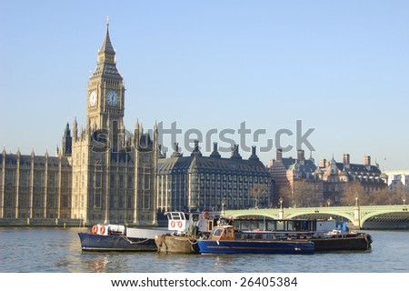 Big Ben and boats on the River Thames in London, England - stock photo