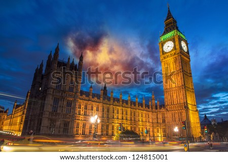 Big Ben and House of Parliament at dusk from Westminster Bridge - London - UK - stock photo