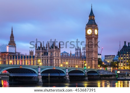 Big Ben and House of Parliament at Night, London, United Kingdom. - stock photo
