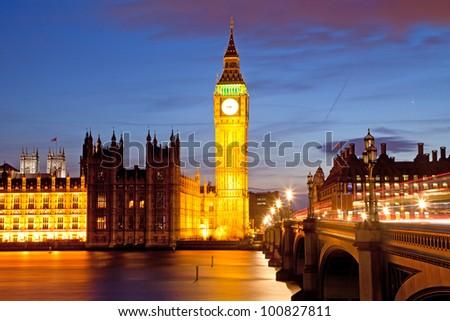 Big Ben and House of Parliament at River Thames International Landmark of London England United Kingdom at Dusk - stock photo