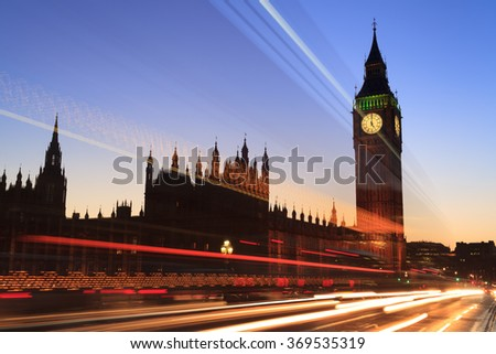 Big Ben and house of parliament at twilight, London, UK - stock photo