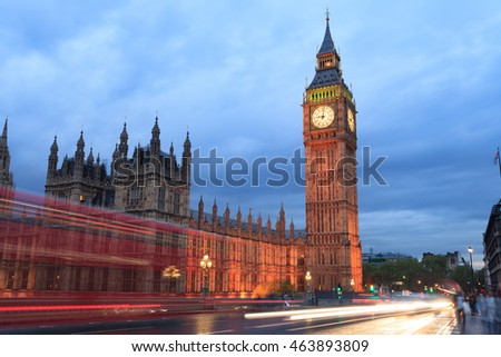 Big Ben and house of parliament at twilight, London, UK