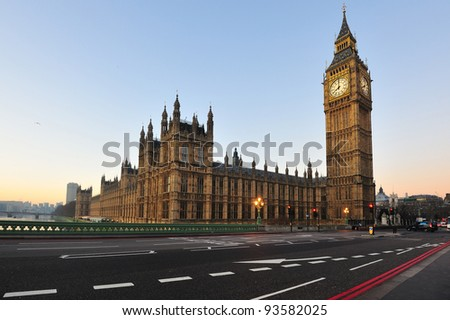 Big Ben and House of Parliament, London, UK - stock photo