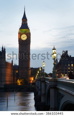 Big Ben and Houses of parliament at dusk in London, natural light and colors - stock photo