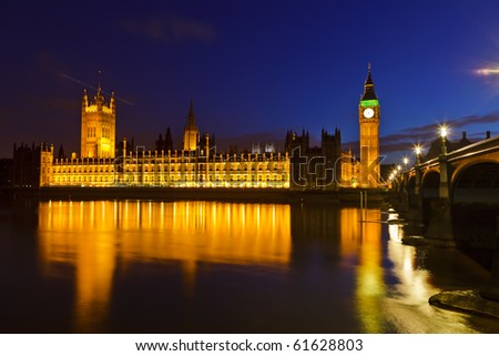 Big Ben and Houses of Parliament at night, London, UK - stock photo