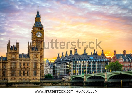Big Ben and Houses of parliament at sunset, London, UK. - stock photo