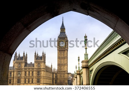 Big Ben and Houses of Parliament - frame view through the pedestrian tunnel - stock photo