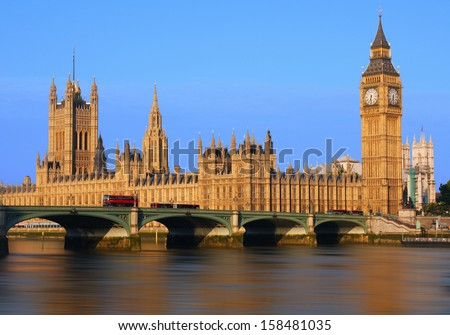 Big Ben and Houses of Parliament in London - stock photo