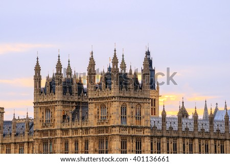 Big Ben and Houses of Parliament in London UK at sunset - stock photo