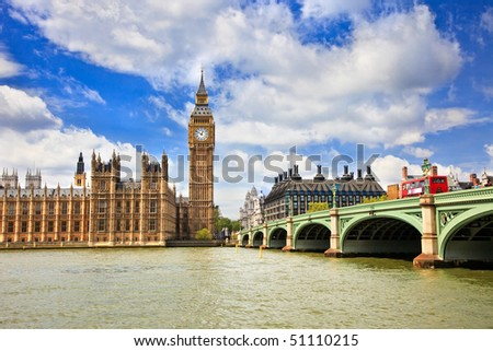 Big Ben and Houses of Parliament, London, UK - stock photo