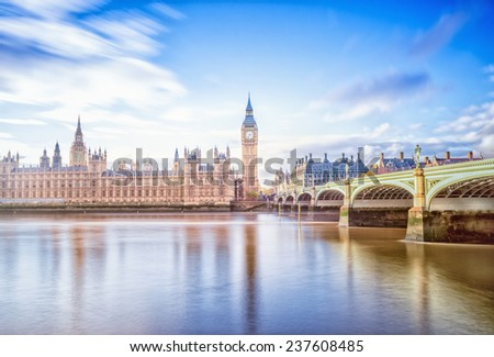 Big Ben and Houses of Parliament, London, UK. long exposure. - stock photo