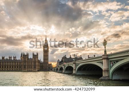 Big Ben and Houses of Parliament sunset, London, UK - stock photo