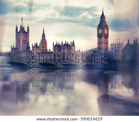 Big Ben and Houses of Parliament vintage effect image - stock photo