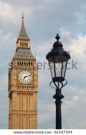 Big Ben and lantern. Focus on Big Ben. Big Ben is one of London's best-known landmarks - stock photo