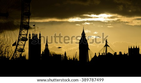 Big Ben and London Eye 3 - stock photo