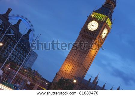 Big Ben and London eye at dusk - stock photo
