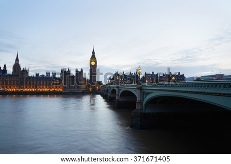 Big Ben and Palace of Westminster at dusk in London, natural light and colors - stock photo