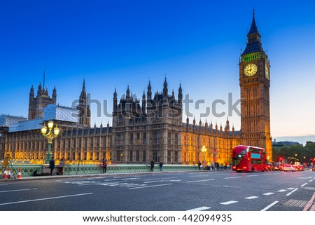 Big Ben and Palace of Westminster in London at night, UK - stock photo