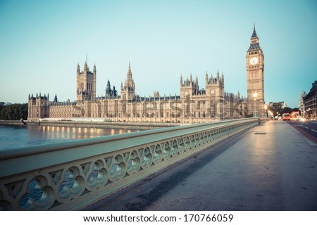 Big Ben and Parliament Building at Dawn - stock photo