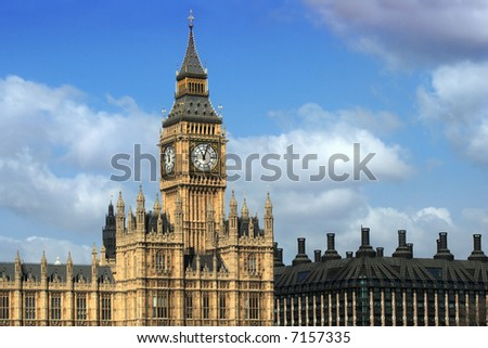 Big Ben and Parliament buildings in London England.