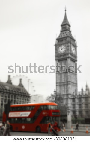 Big Ben and red double decker bus, tourists and London Eye. (London, UK). Retro aged photo. Blurred photo. - stock photo