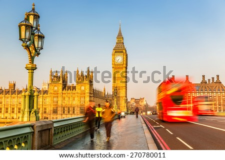 Big Ben and red double-decker in London, UK - stock photo