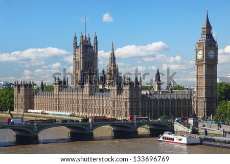 Big Ben and the House of Parliament in London, UK - stock photo