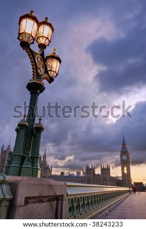 Big Ben and the Houses of Parliament and a street lantern - stock photo
