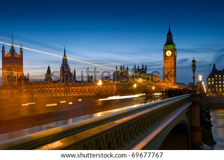 Big Ben and the Houses of Parliament from Westminster Bridge, in London England. - stock photo