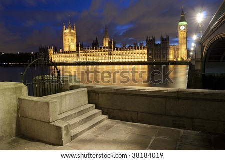 Big Ben and the Houses of Parliament in London - stock photo