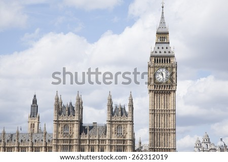 Big Ben and the Houses of Parliament, London, England, UK - stock photo