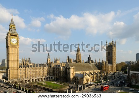 Big Ben and the Houses of Parliament (Palace of Westminster) London, England, UK catching the late afternoon sunshine - stock photo