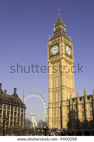 Big Ben And The London Eye - stock photo