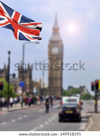 Big Ben and the main street in London - with English flag - stock photo