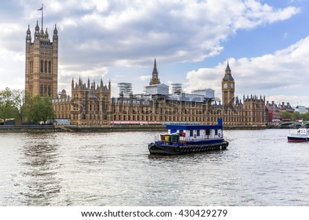 Big Ben and the Palace of Westminster in London, UK - stock photo