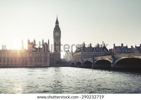 Big Ben and Westminster at sunset, London, UK  - stock photo