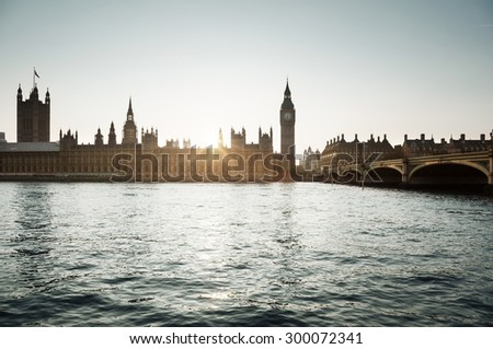 Big Ben and Westminster at sunset, London, UK  - stock photo