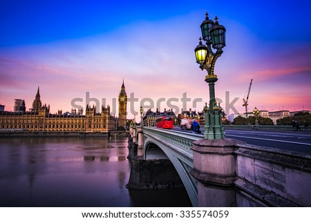 Big Ben and Westminster Bridge at dusk, London, UK - stock photo