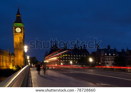 Big Ben and Westminster Bridge at Night - stock photo