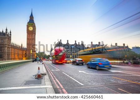 Big Ben and Westminster Bridge in London at dusk, UK - stock photo