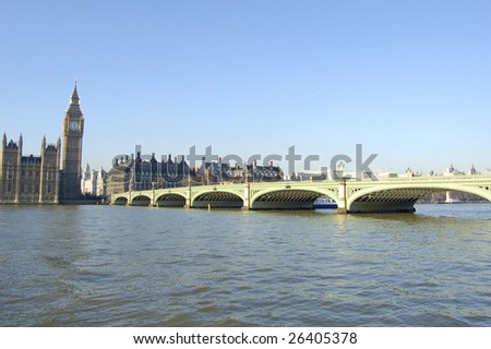 Big Ben and Westminster Bridge in London, England - stock photo