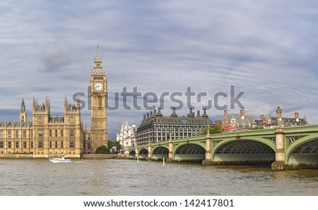 Big Ben and Westminster bridge in London in summer