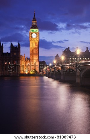 Big Ben and Westminster Bridge in London, UK, at dusk - stock photo