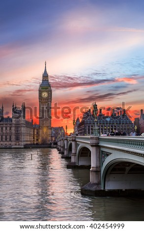 Big Ben and Westminster Bridge in London, United Kingdom, during sunset - stock photo