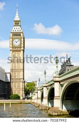 Big Ben and Westminster Bridge, London, Great Britain - stock photo
