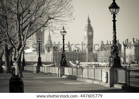 Big Ben and Westminster in the Autumn aura in London, UK. - stock photo