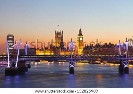 Big Ben and Westminster Palace in London - stock photo