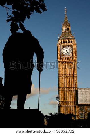 Big Ben and Winston Churchill's statue at sunset, London