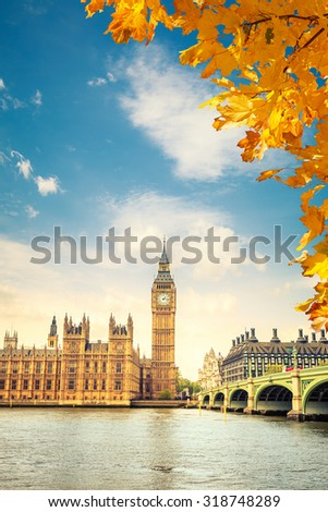 Big Ben at autumn in London, UK - stock photo