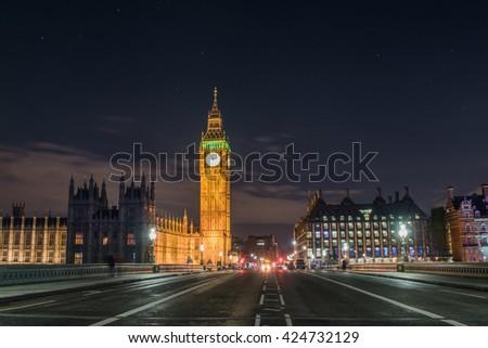 Big Ben at night from Westminster Bridge - stock photo